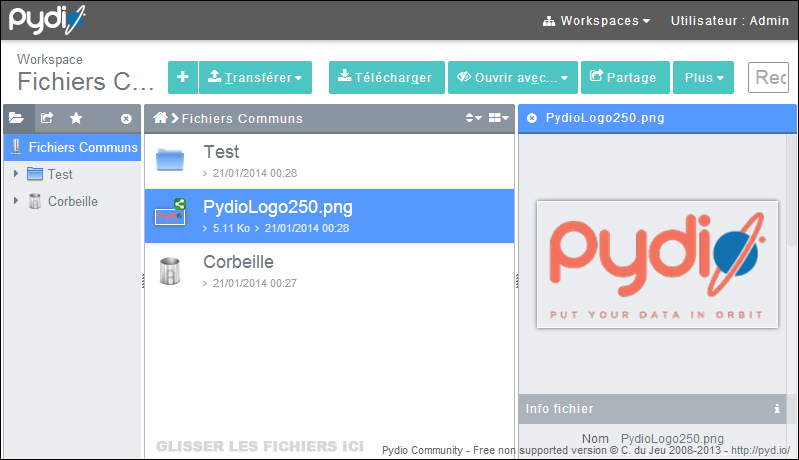 pydio screen
