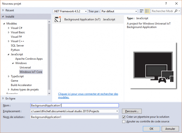 visual studio nouveau projet windows 10 iot core tfrichet